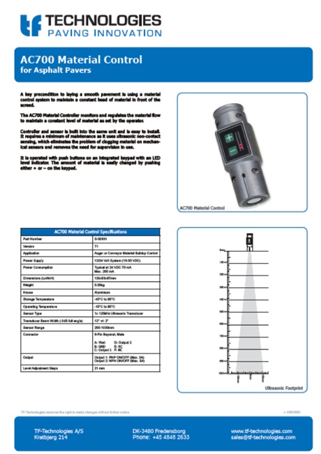 AC700 Material Controller - Feeder - TF-Technologies Material Sensor